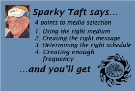 Sparky Taft says 4 points to media selection 1. Using the right medium 2. Creating the right message 3. Determining the right schedule 4. Creating enough frequency and you'll get dynamic results!